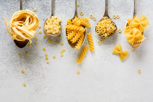 Various Pasta In Iron Spoons O...