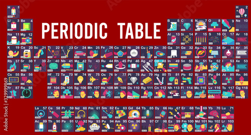 Vector Illustration of Periodic table and Symbol example graphic explain Fototapet