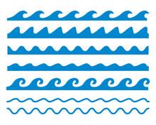 様々な波のラインイラスト画像