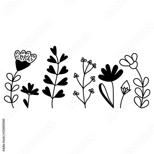 Fototapety, obrazy: A set of forest and meadow plants. Vector hand-drawn illustration of a silhouette isolated on a white background. Elements for the design of posters, postcards, t- shirts, cups, and more