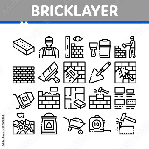 Photo Bricklayer Industry Collection Icons Set Vector