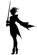 The Silhouette Of A Swordswoma...