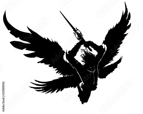 Stampa su Tela An angel with a two-handed sword breaks into battle preparing to make a mighty blow