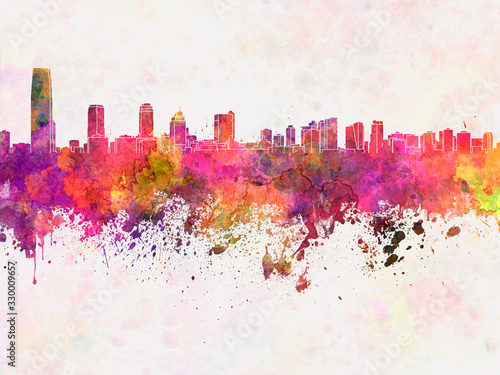 Fototapeta Jersey City skyline in watercolor background