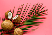 Coconuts And Leaves - Tropical Still Life On Pink Background Top-down