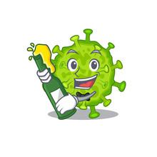 Virus Corona Cell With Bottle Of Beer Mascot Cartoon Style