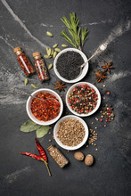Different Spices, Kitchen Herbs And Seeds For Tasty Meals