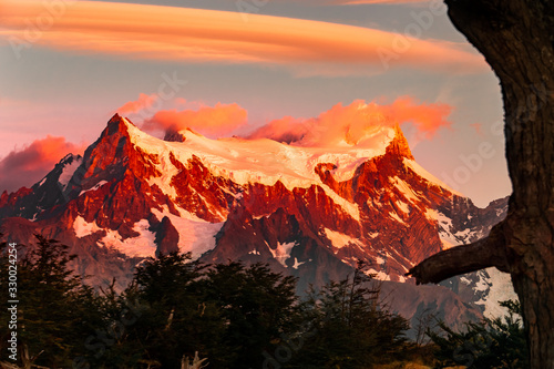Paine grande in Paine massif in southern Chile Wallpaper Mural