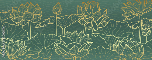 lotus line arts luxury wallpaper design for fabric, prints and background texture, Vector illustration. - 330026416