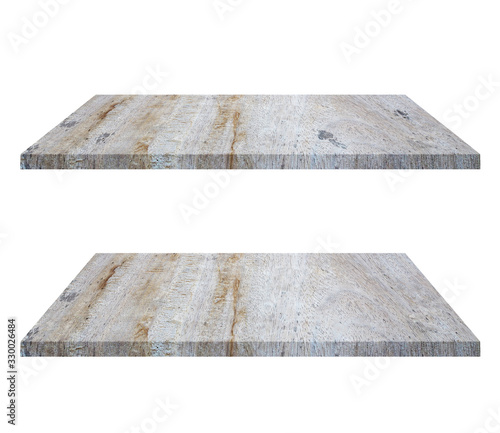 Set of empty brown wooden shelf isolated on white background Wallpaper Mural