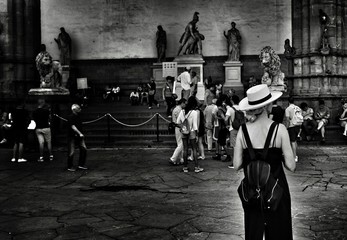 Tourist Visiting Loggia Dei Lanzi
