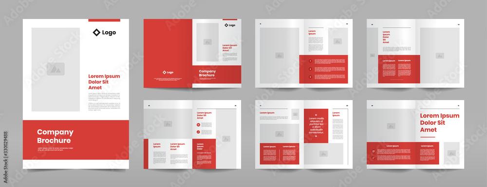 Fototapeta modern red business brochure design template