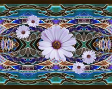 African Daisy Flowers On Hand Drawn Fantasy Landscape. Floral Seamless Pattern.