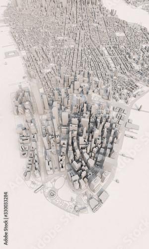 New York city map aerial view. grey minimal design. 3D Rendering Canvas Print