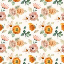 Beige Orange Floral Watercolor Seamless Pattern