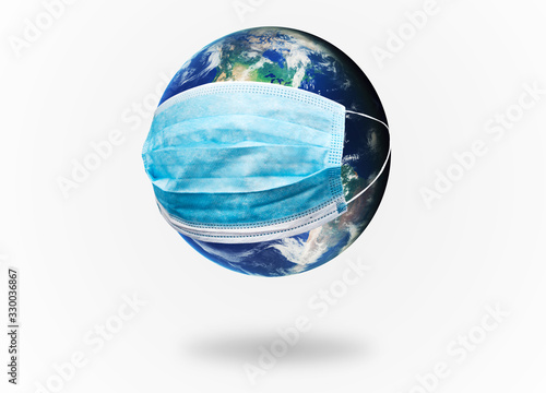 The planet earth is wearing a protective mask Wallpaper Mural