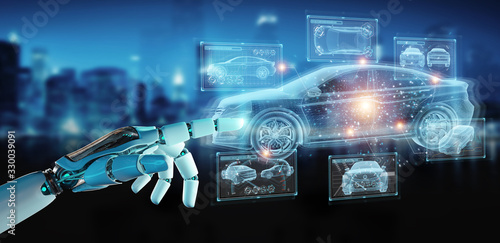 Robot hand holding and touching holographic smart car interface projection 3D rendering - 330039091