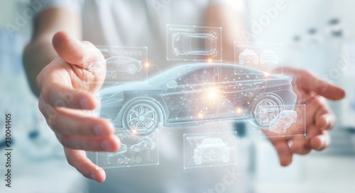 Canvastavla Man holding and touching holographic smart car interface projection 3D rendering
