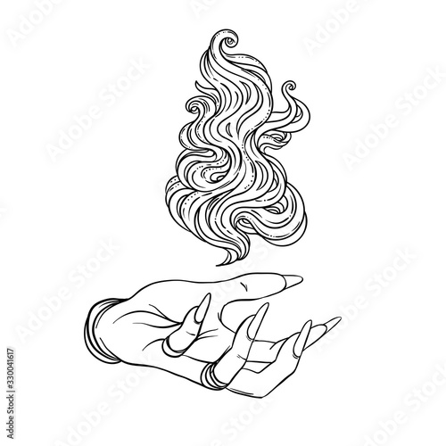 Fotografia, Obraz Hand of witch with fire