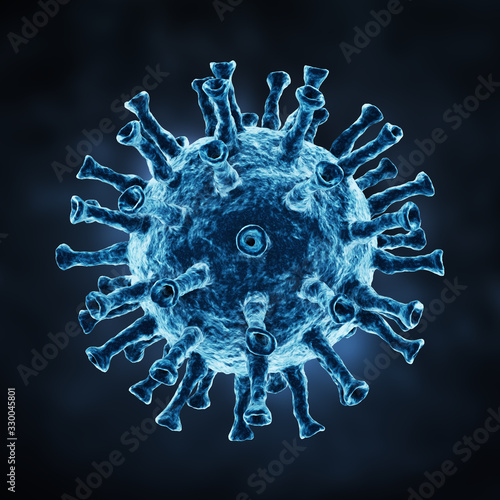 Photo Herpes virus on a dark background. 3d illustration