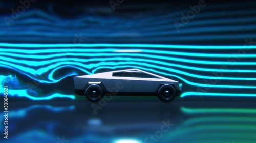 Concept car aerodynamics test in wind tunnel, side view 3d rendering Canvas Print