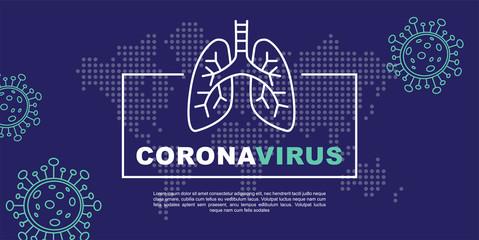 corona virus 2019-nCoV banner infographics. China pathogen respiratory coronavirus. Flu and lung disease spreading of world. Dangerous Chinese ncov corona virus, risk alert.