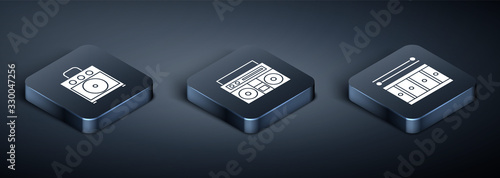Set Isometric Guitar amplifier, Drum with drum sticks and Home stereo with two speakers icon Wallpaper Mural