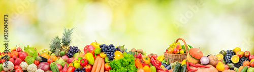 Wide panoramic photo fruits, vegetables, berries for your layout