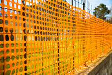 Orange Construction Grid Around A Construction Site