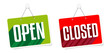 Open an Closed on door sign hanging