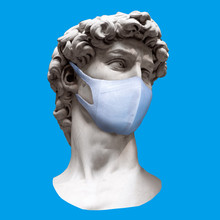 Contemporary Art Collage. Head Of Sculpture  In Medical Mask On Blue Background. Concept Of Coronavirus Quarantine.