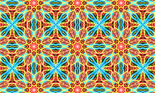 Geometric Kaleidoscope Multicolored Seamless Pattern. Abstract Background. Beautiful Multicolor Kaleidoscope Texture. Unique Kaleidoscope Design. Illustration For Design.