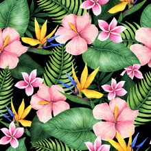 Seamless Floral Pattern Of Tropical Flowers And Leaves. Botanical Wallpaper Illustration In Hawaiian Style