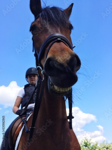 Low Angle View Of Jockey Riding Horse Against Sky Wallpaper Mural