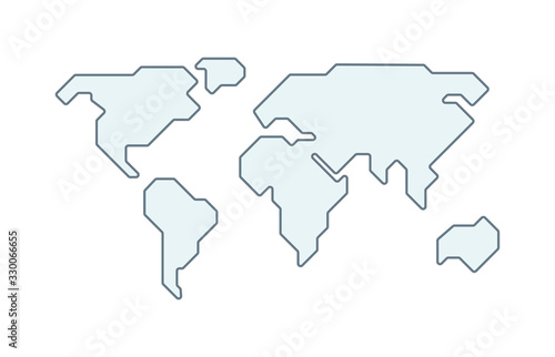 Fototapeta World vector map. Earth planet simple stylized continents silhouette, minimal simplified line contour. obraz