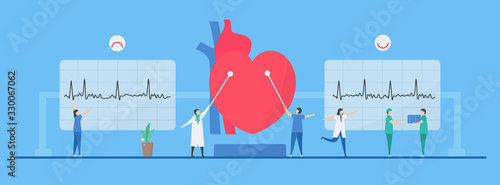 Cardiology vector illustration. Diagnostic and analysis can treat arrhythmia heart disease to be normal. Flat tiny style.