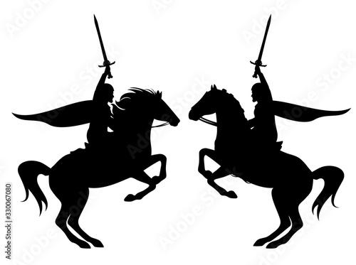 Cuadros en Lienzo medieval hero knight holding sword riding rearing up horse black vector silhouet