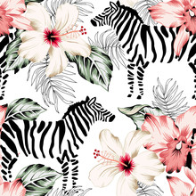 Tropical Zebra, Orchid Flowers, Palm Leaves, White Background. Vector Seamless Pattern. Jungle Illustration. Exotic Plants, Animals. Summer Floral Design. Paradise Nature