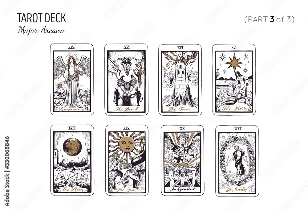 Fototapeta Tarot card deck. Major arcana set part 1of 3 . Vector hand drawn engraved style. Occult and alchemy symbolism. The fool, magician, high priestess, empress, emperor, lovers, hierophant, chariot