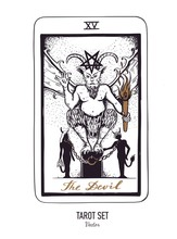 Vector Hand Drawn Tarot Card Deck. Major Arcana Justice. Engraved Vintage Style. Occult, Spiritual And Alchemy Symbolism