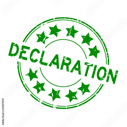 Grunge green declaration word round rubber seal stamp on white background Canvas Print