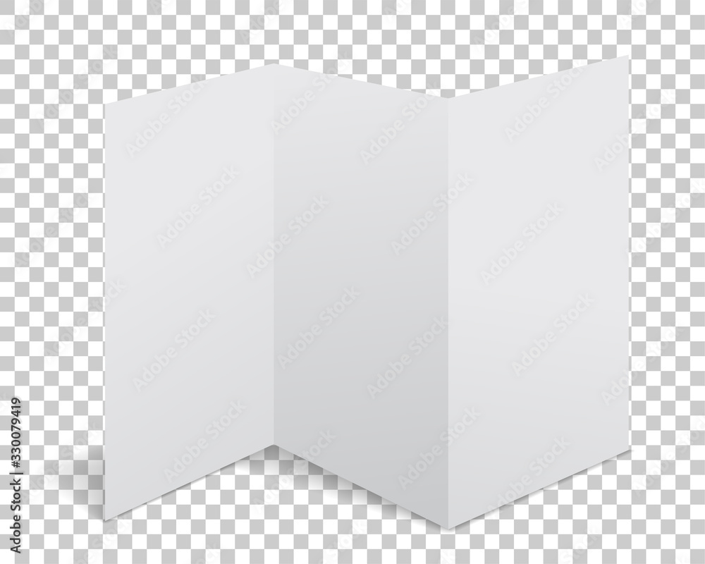 Fototapeta Vector paper flyer with realistic shadow. White blank page isolated on background. Mock up template.