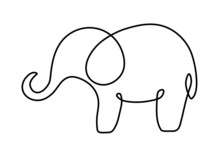 One Line Drawing Art Elephant ...