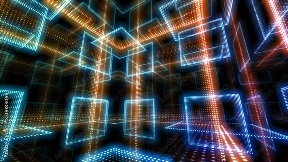 Fototapeta Disco club space illumination neon light room floor wall 3D illustration abstract background