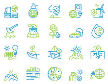 Climate Change And Global Warming Color Linear Icon Set. Natural Disaster And Ecology Concept