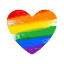 Heart In Rainbow LGBT Flag Col...