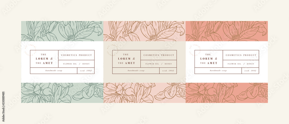 Fototapeta Vector set pattens for cosmetics with label template design. Patterns or wrapping paper for package and beauty salons. Magnolia flowers. Organic, natural cosmetic.