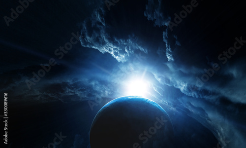 Fototapety, obrazy: Deep space beauty. Planet orbit.
