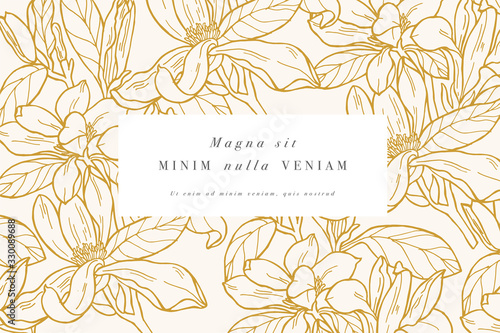 Vintage card with magnolia flowers Wallpaper Mural