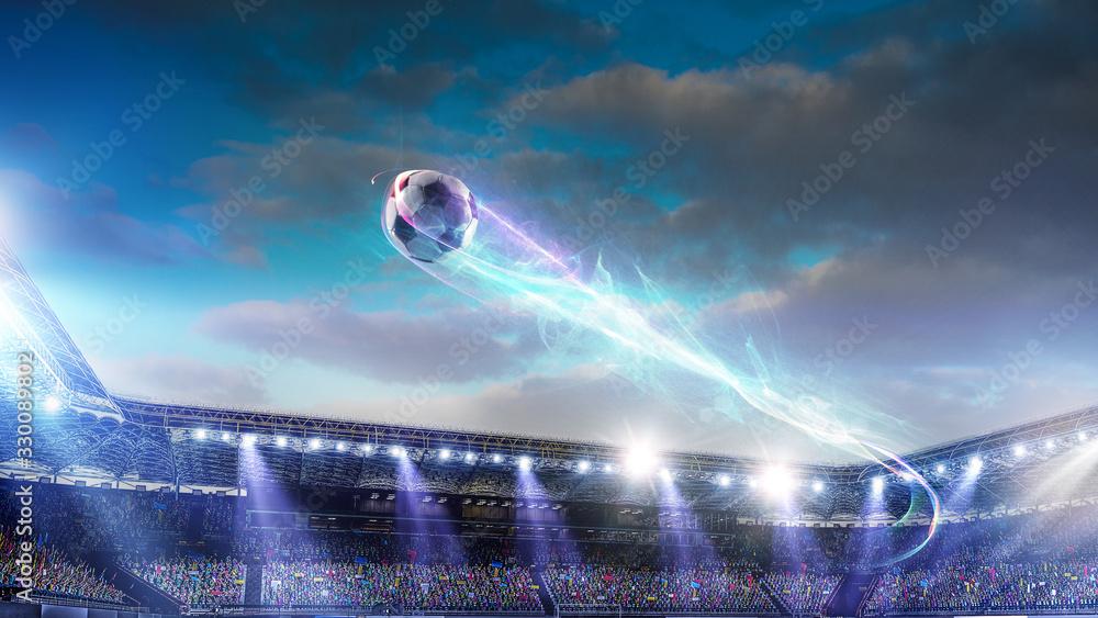 Fototapeta Football stadium background with flying ball